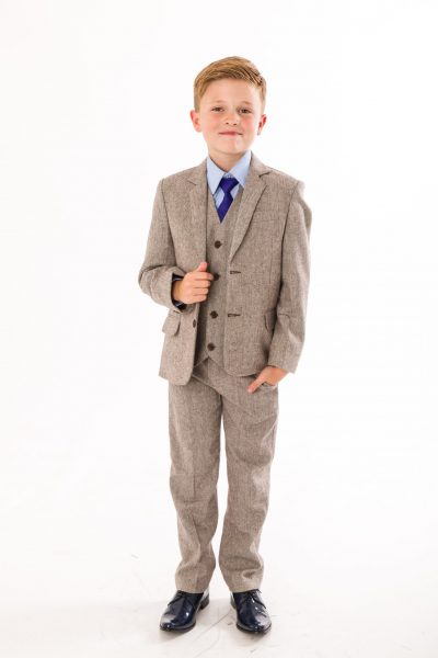 5 PIECE BOYS HERRINGBONE BROWN SUIT-0