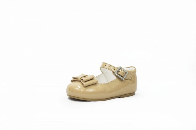 Beige Patent shoes with Bow Feature-0