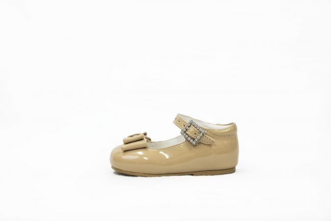 Beige Patent shoes with Bow Feature-1464