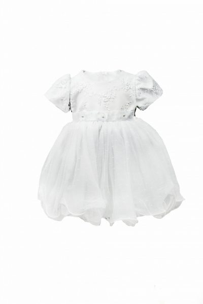 White Embroidery Flower Dress with Short Sleeve-0