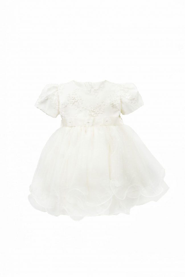 Cream Embroidery Flower Dress with Short Sleeve-0