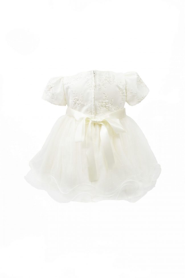 Cream Embroidery Flower Dress with Short Sleeve-1493