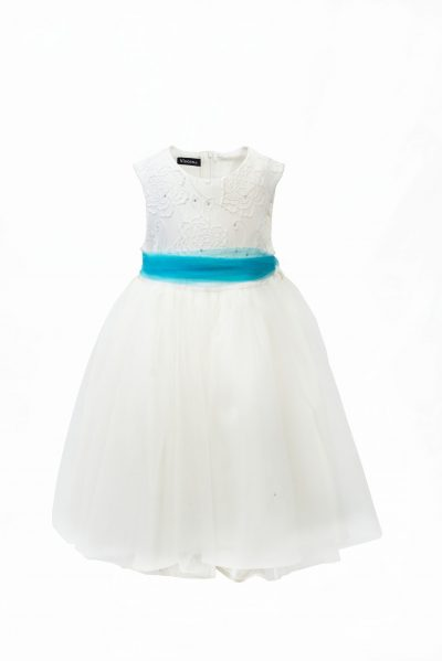 GIRLS IVORY FLOWER DRESS WITH TURQUOISE BELT-0