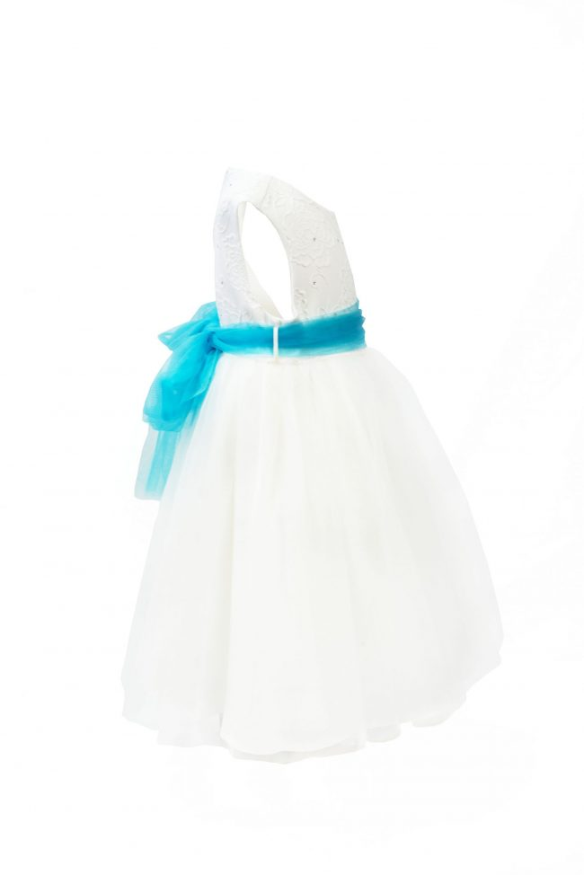 GIRLS IVORY FLOWER DRESS WITH TURQUOISE BELT-1475