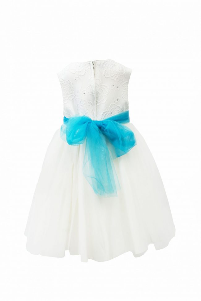 GIRLS IVORY FLOWER DRESS WITH TURQUOISE BELT-1477