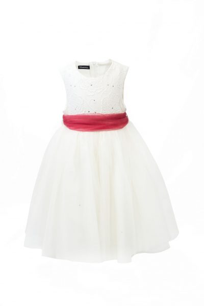 Girls Ivory Flower diamond dress with pink belt-0