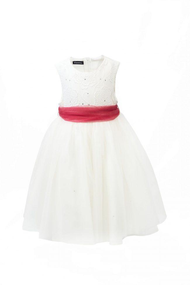 Girls Ivory Flower diamond dress with pink belt-0