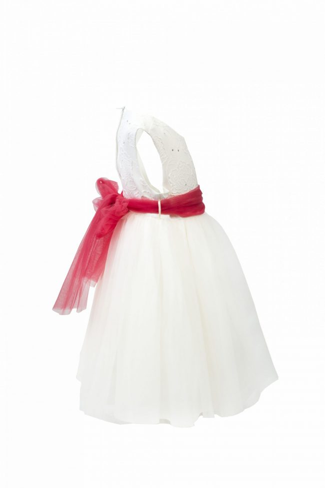 Girls Ivory Flower diamond dress with pink belt-1478