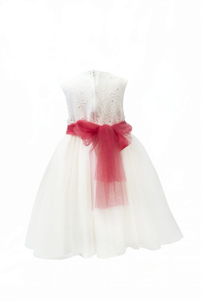 Girls Ivory Flower diamond dress with pink belt-1480