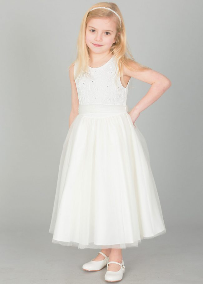 Girls Ivory Flower diamond dress with ivory belt-0