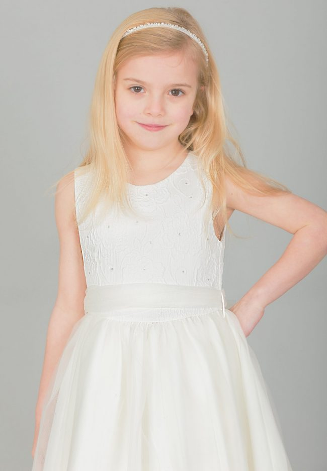 Girls Ivory Flower diamond dress with ivory belt-1644