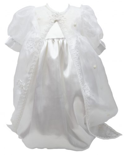 White lace with detailed trail Christening dress -0