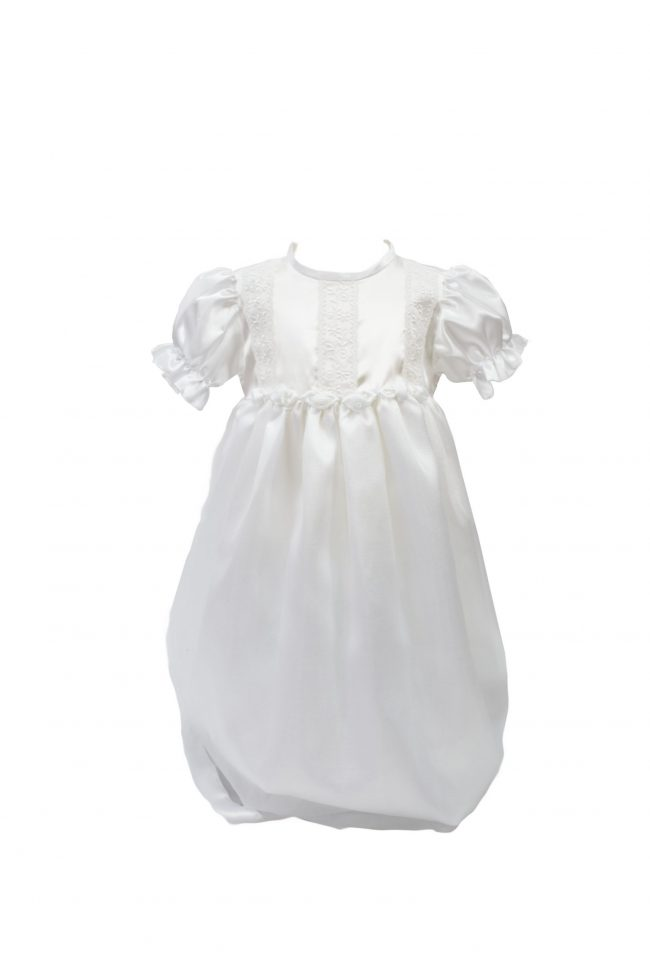 White detailed floral christening dress-0