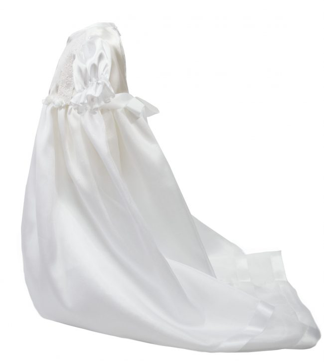White detailed floral christening dress-1529