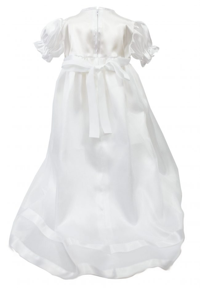 White detailed floral christening dress-1528