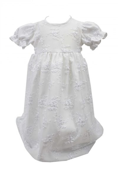 WHITE EMBROIDERY FLOWER DRESS -0