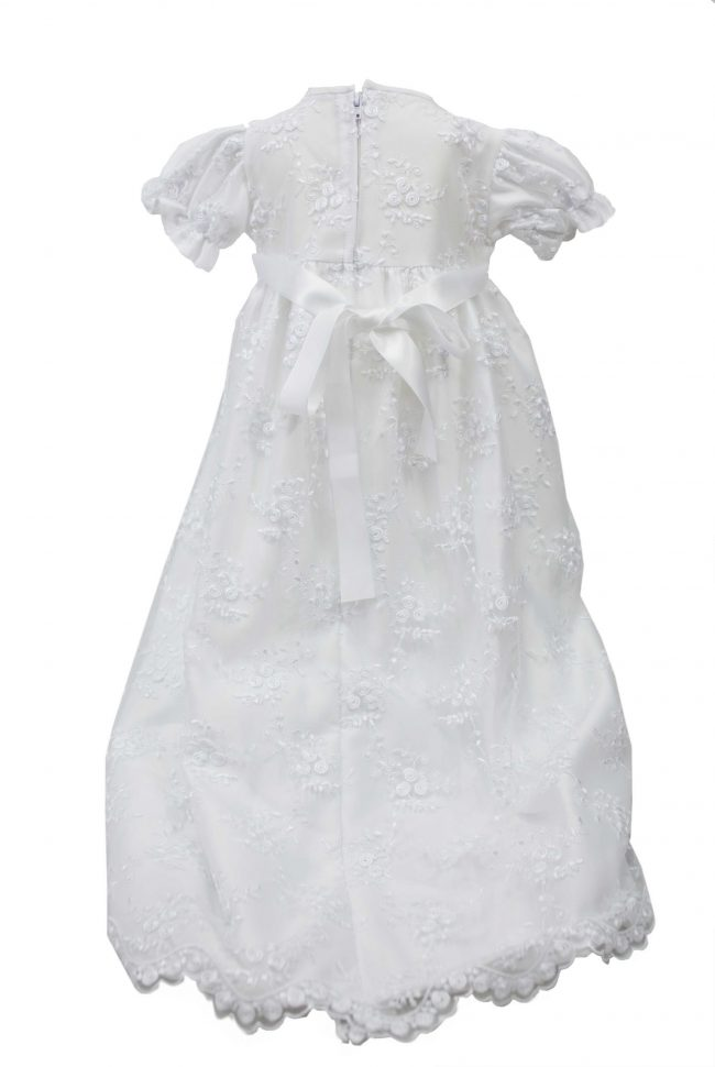 WHITE EMBROIDERY FLOWER DRESS -1535