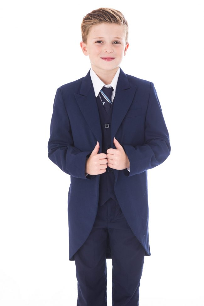5 Piece Navy Tailcoat Suit-1509