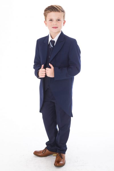 5 Piece Navy Tailcoat Suit-0