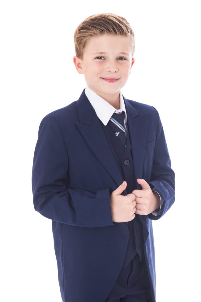 5 Piece Navy Tailcoat Suit-1507