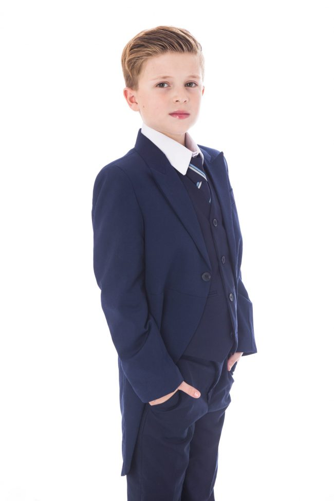 5 Piece Navy Tailcoat Suit-1505