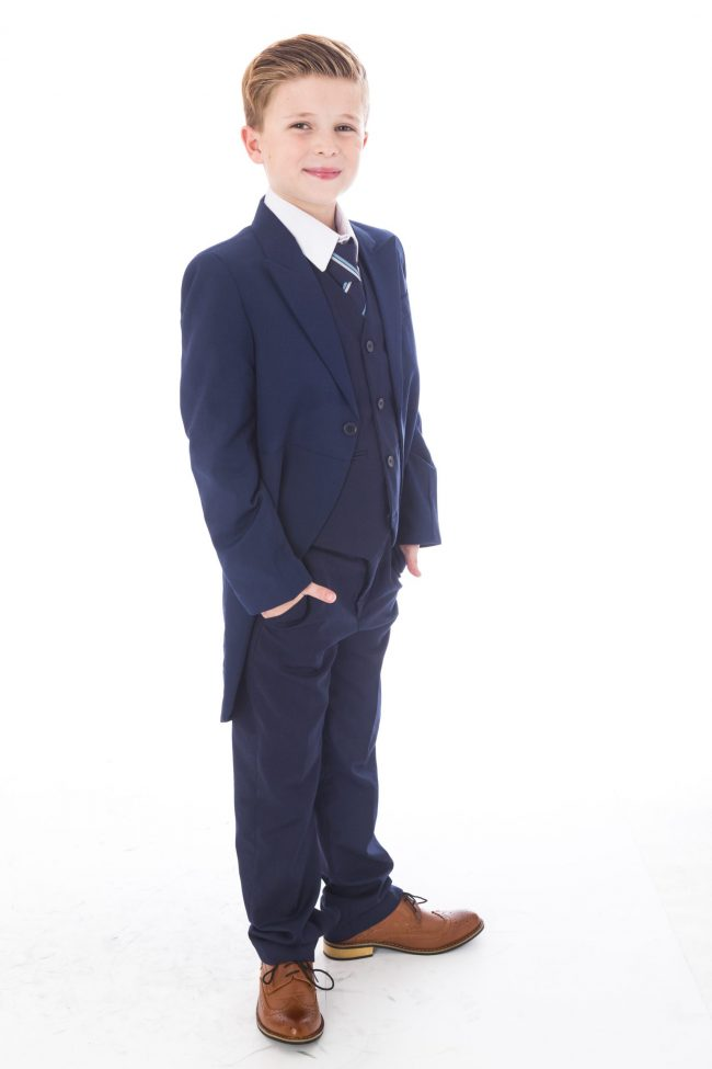 5 Piece Navy Tailcoat Suit-1508