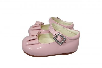 Girls Patent Pink Shoe With Bow-0