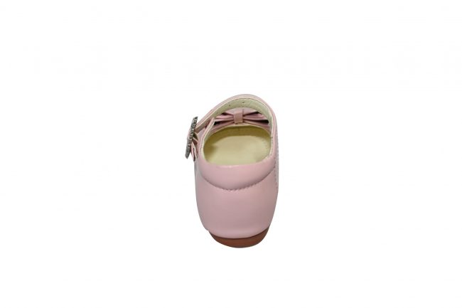 Girls Patent Pink Shoe With Bow-1573
