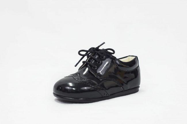 Boys Early Steps Brogue Black Patent-1558