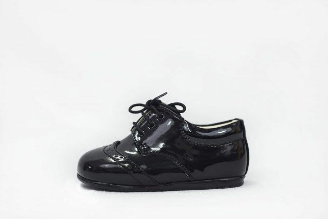 Boys Early Steps Brogue Black Patent-1559