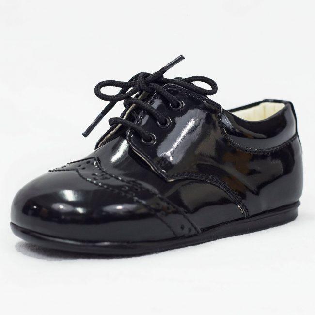 Boys Early Steps Brogue Black Patent-0