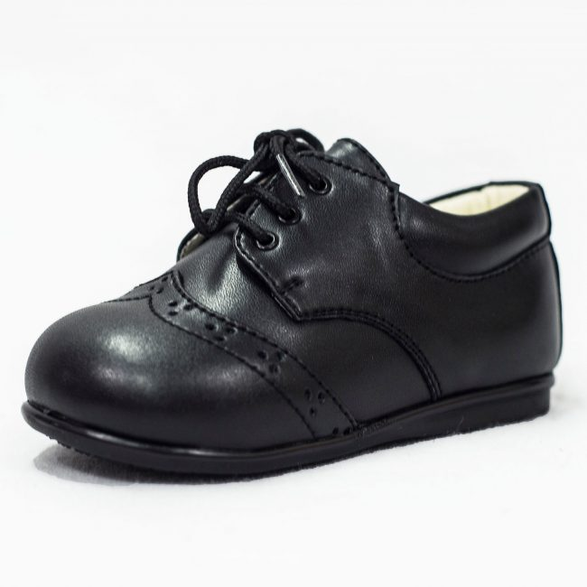 Boys Easy Steps Brogue Black Matte-0