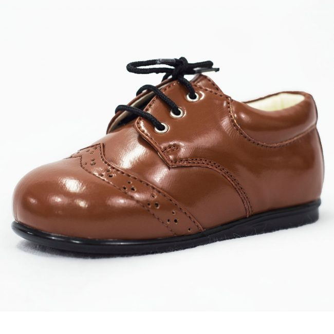 Boys Early Steps Brogue Brown Patent-0