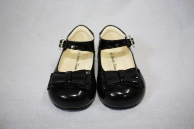 Girls Patent Black Shoe With Bow-0