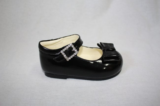 Girls Patent Black Shoe With Bow-1569