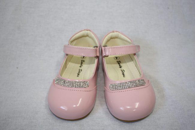 Girls Patent Pink Shoe With Diamond Strip-0