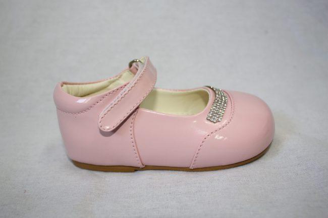 Girls Patent Pink Shoe With Diamond Strip-1585