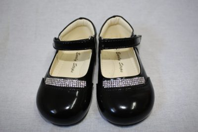 Girls Patent Black Shoe With Diamond Strip-0