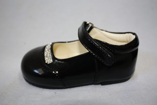 Girls Patent Black Shoe With Diamond Strip-1576