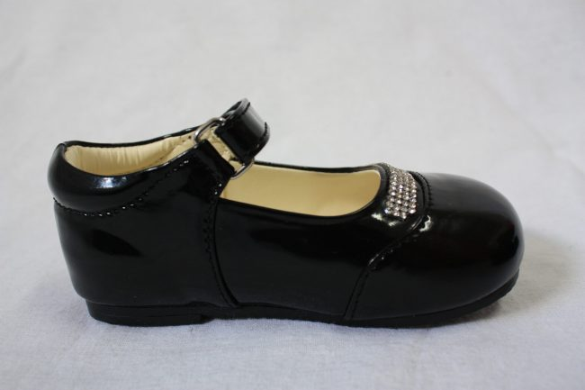 Girls Patent Black Shoe With Diamond Strip-1578
