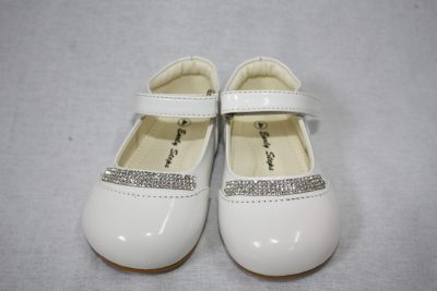 Girls Patent White Shoe With Diamond Strip-0