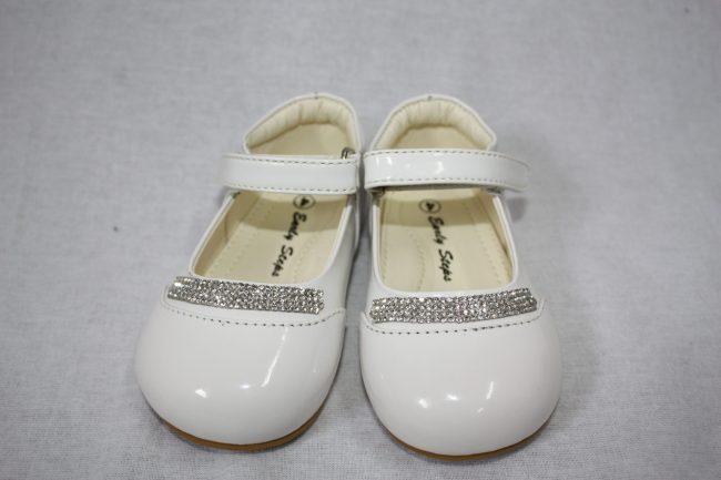 Girls Patent White Shoe With Diamond Strip-0
