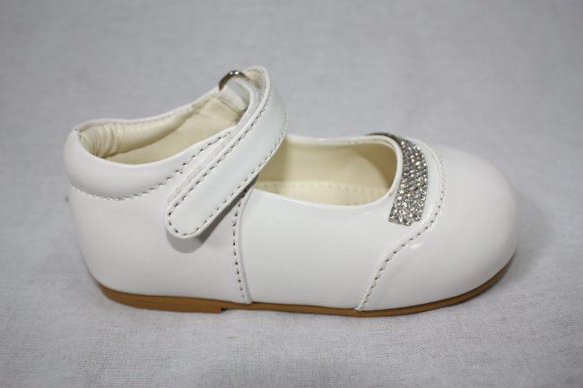 Girls Patent White Shoe With Diamond Strip-1586