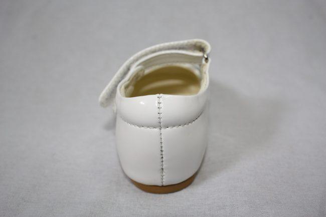 Girls Patent White Shoe With Diamond Strip-1588