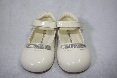 Girls Patent Cream With Diamond Strip-0
