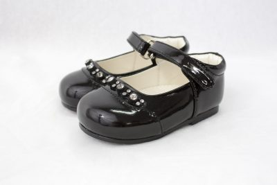 Girls Early Step Black Shoe With Diamonds-0
