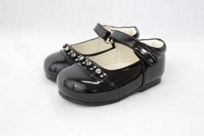 Girls Early Step Black Shoe With Diamonds-0