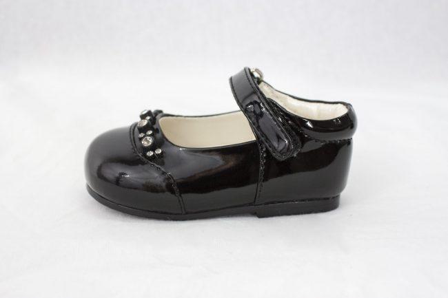 Girls Early Step Black Shoe With Diamonds-1603