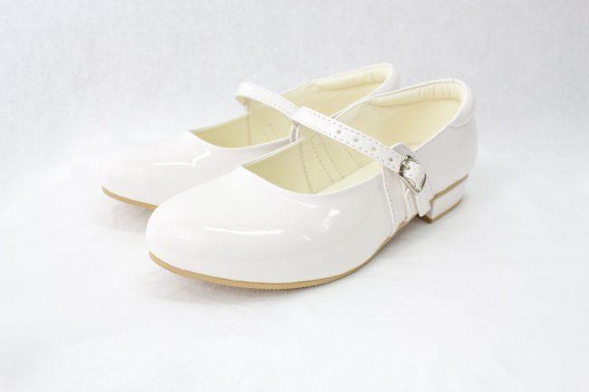 Girls Visara Patent White Crystal-1600