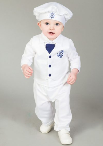 4 Piece Christening Suit White/Navy-0